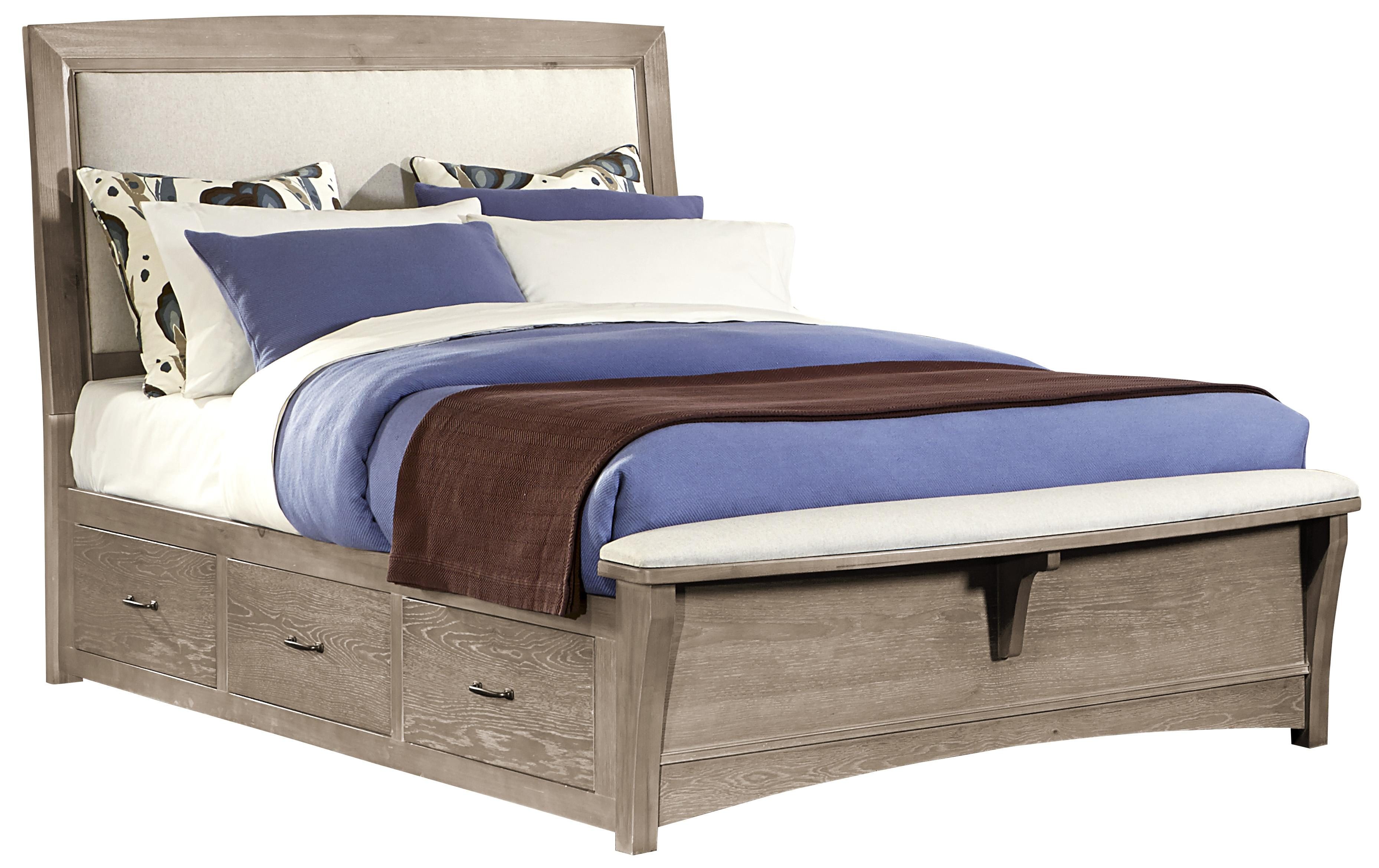 Vaughan Bassett Transitions King Upholstered Bed with 1 Side Storage - Item Number: BB61-669+966+082B+082C+082D+666T