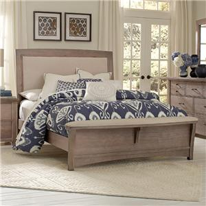 Vaughan Bassett Transitions Queen Upholstered Bed, Base Cloth Linen