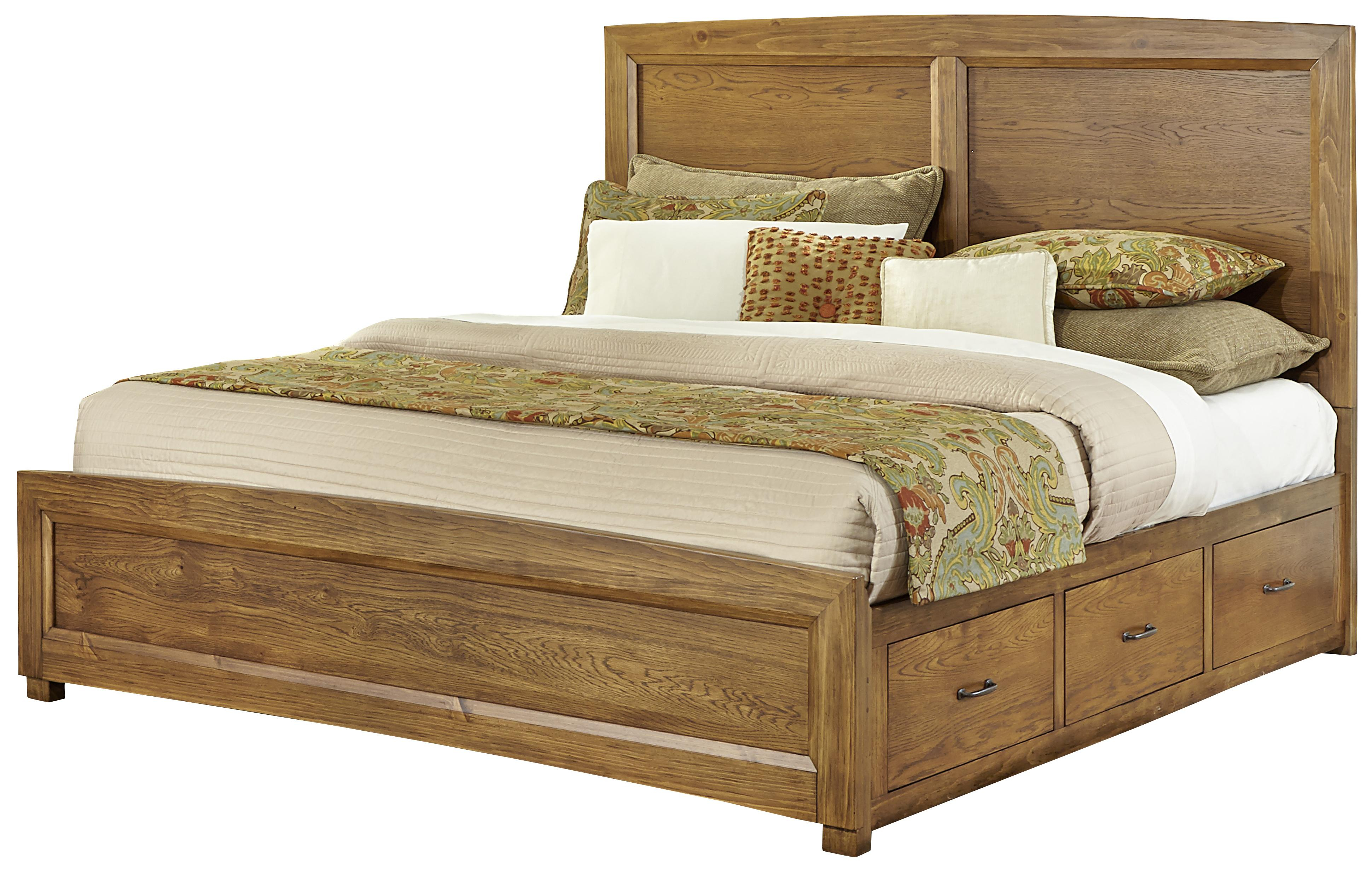Vaughan Bassett Transitions King Panel Bed with 2 Side Storage Units - Item Number: BB63-668+866+2x082B+666T