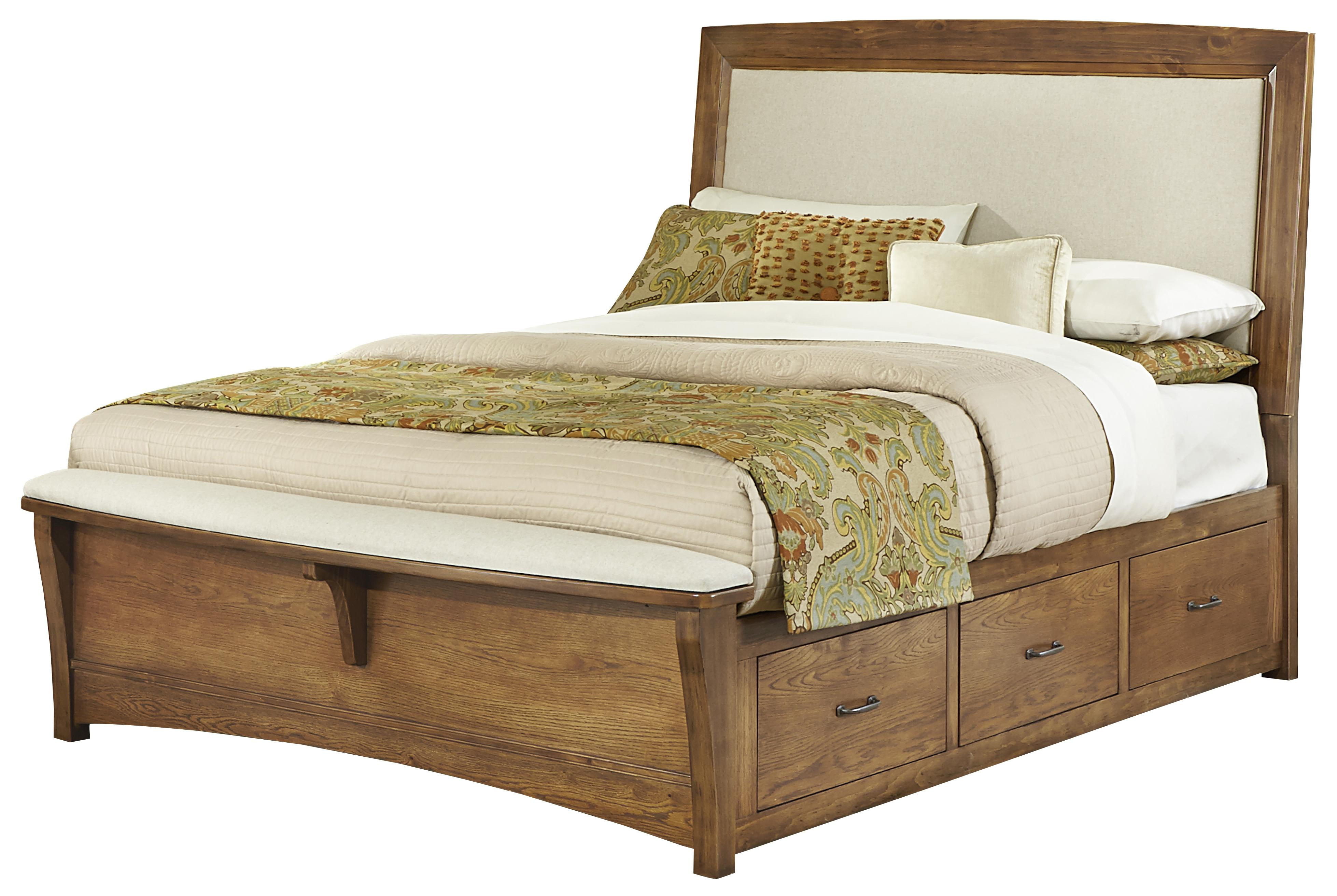 Vaughan Bassett Transitions King Upholstered Bed with 1 Side Storage - Item Number: BB63-669+966+082B+082C+082D+666T