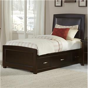 Vaughan Bassett Transitions Twin Uph. Bed, Bonded Leather with Storage