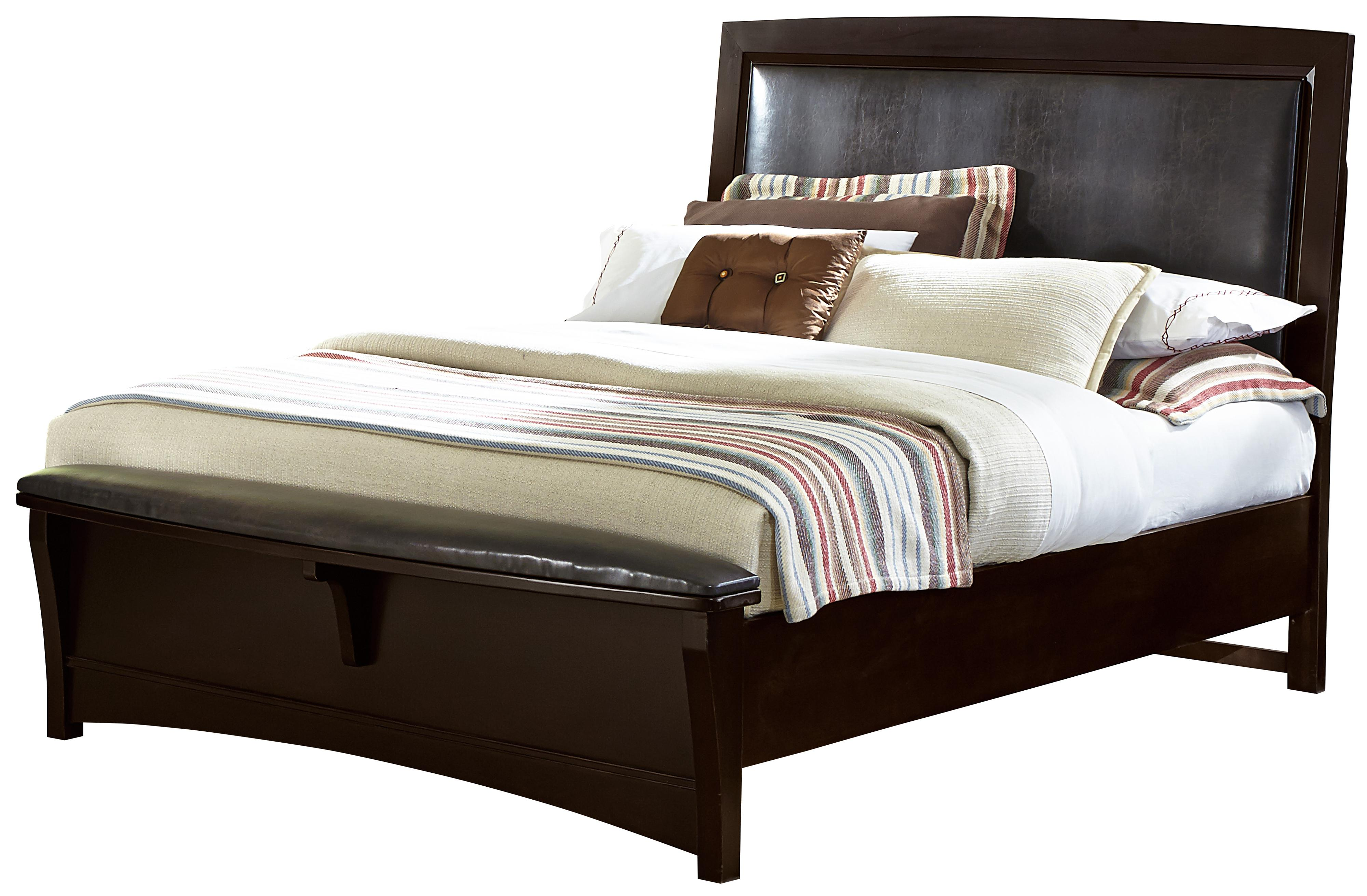 Vaughan Bassett Transitions King Upholstered Bed, Bonded Leather - Item Number: BB67-669+966+922+MS1