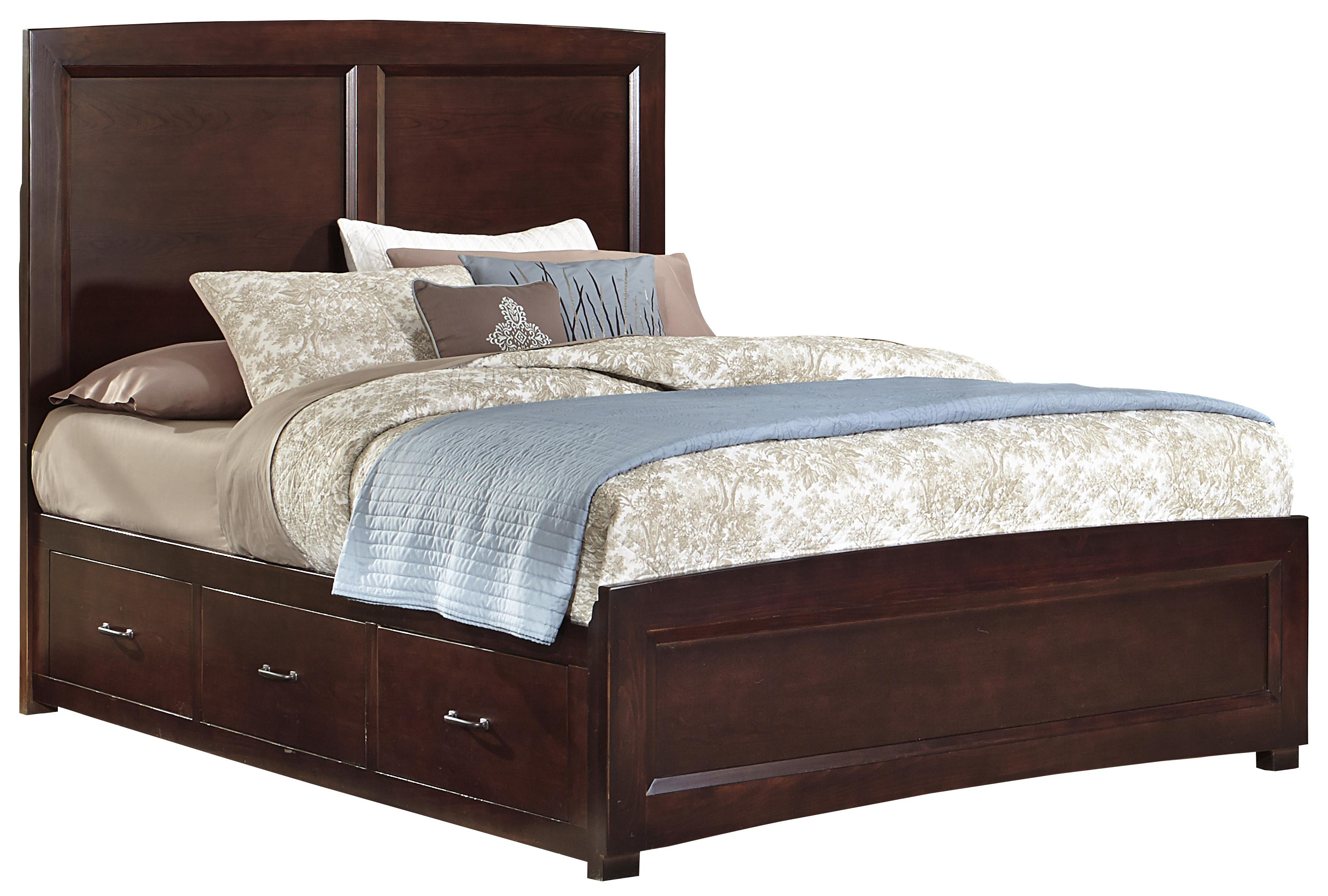 Vaughan Bassett Transitions Queen Panel Bed with 1 Side Storage - Item Number: BB68-558+855+082B+082C+555T