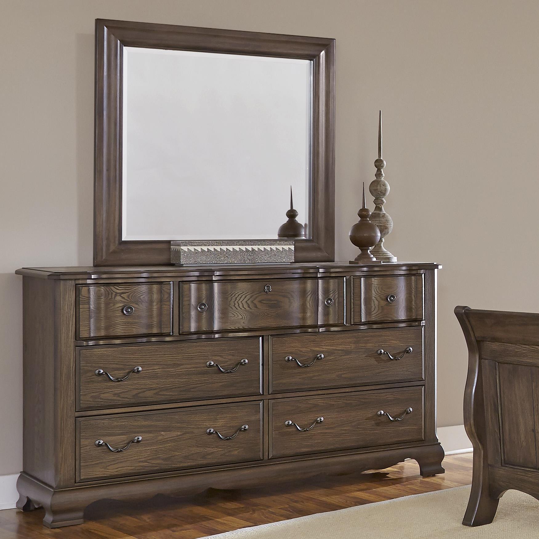 Vaughan Bassett Villa Sophia Dresser & Landscape Mirror - Item Number: 520-002+446