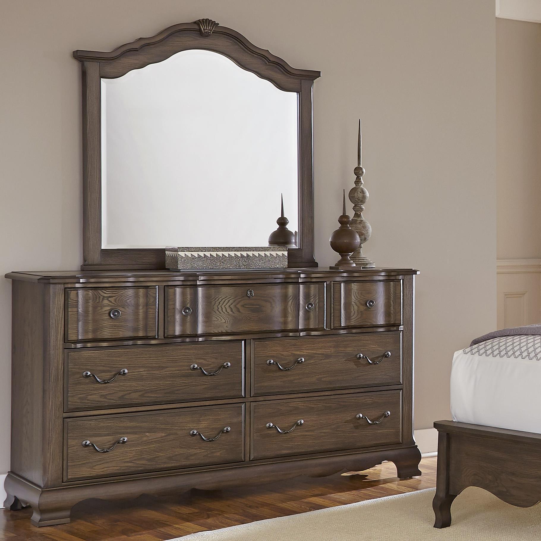 Vaughan Bassett Villa Sophia Dresser & Shelter Mirror - Item Number: 520-002+447
