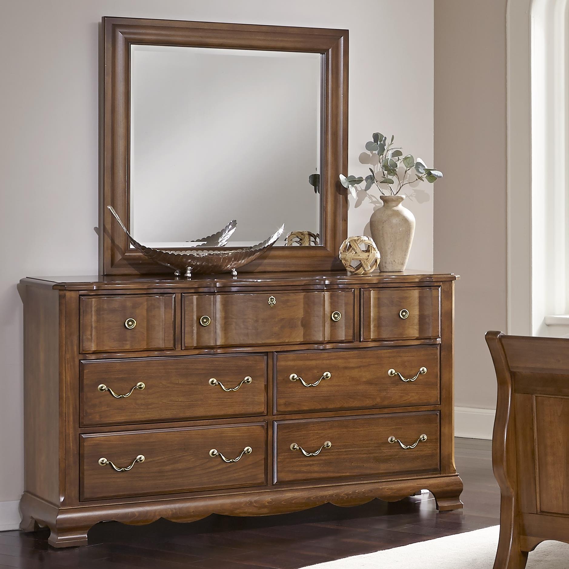 Vaughan Bassett Villa Sophia Dresser & Landscape Mirror - Item Number: 522-002+446