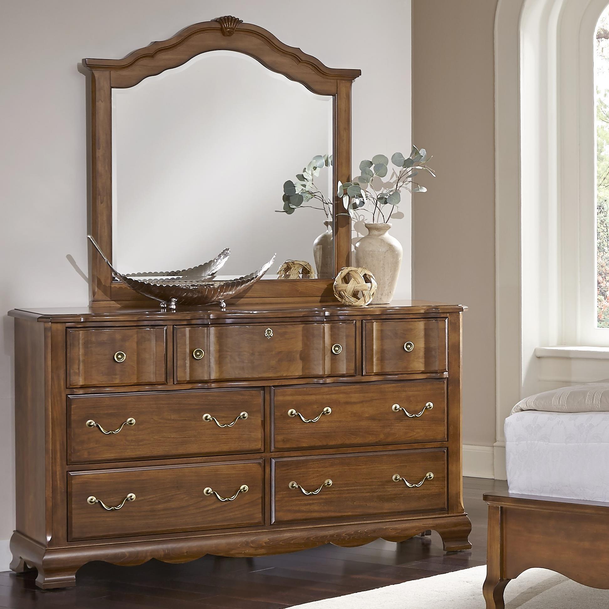 Vaughan Bassett Villa Sophia Dresser & Shelter Mirror - Item Number: 522-002+447