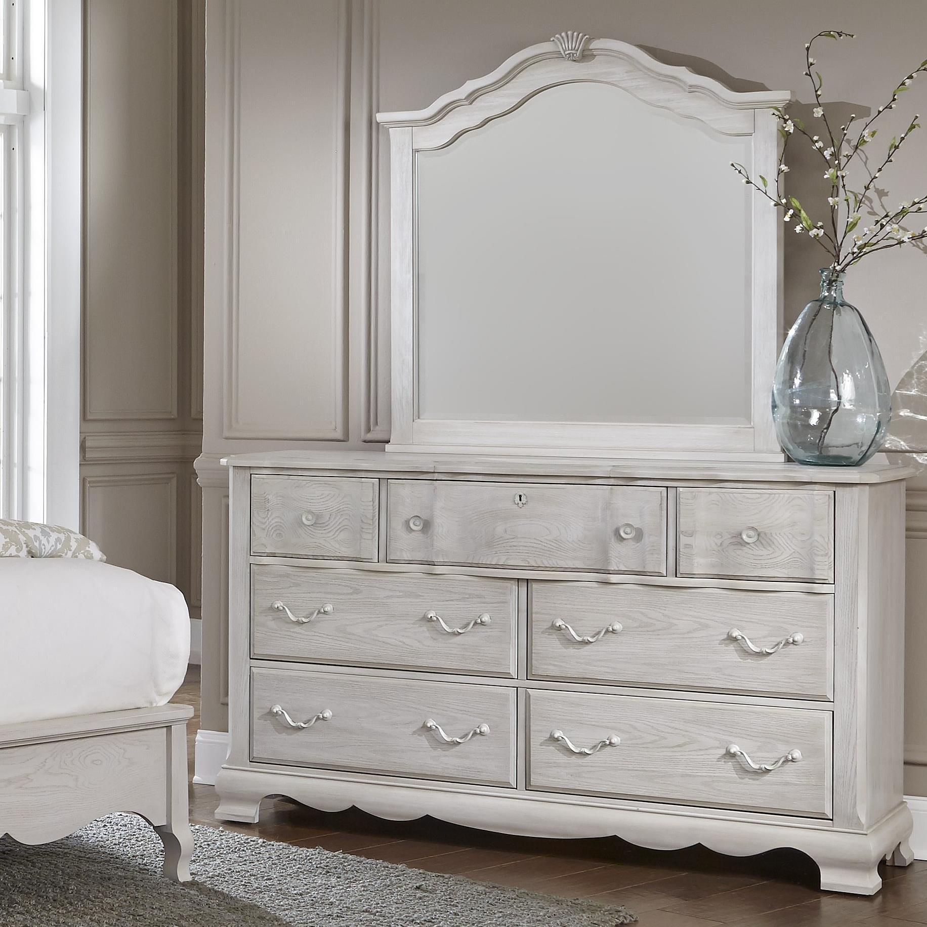 Vaughan Bassett Villa Sophia Dresser & Shelter Mirror - Item Number: 524-002+447