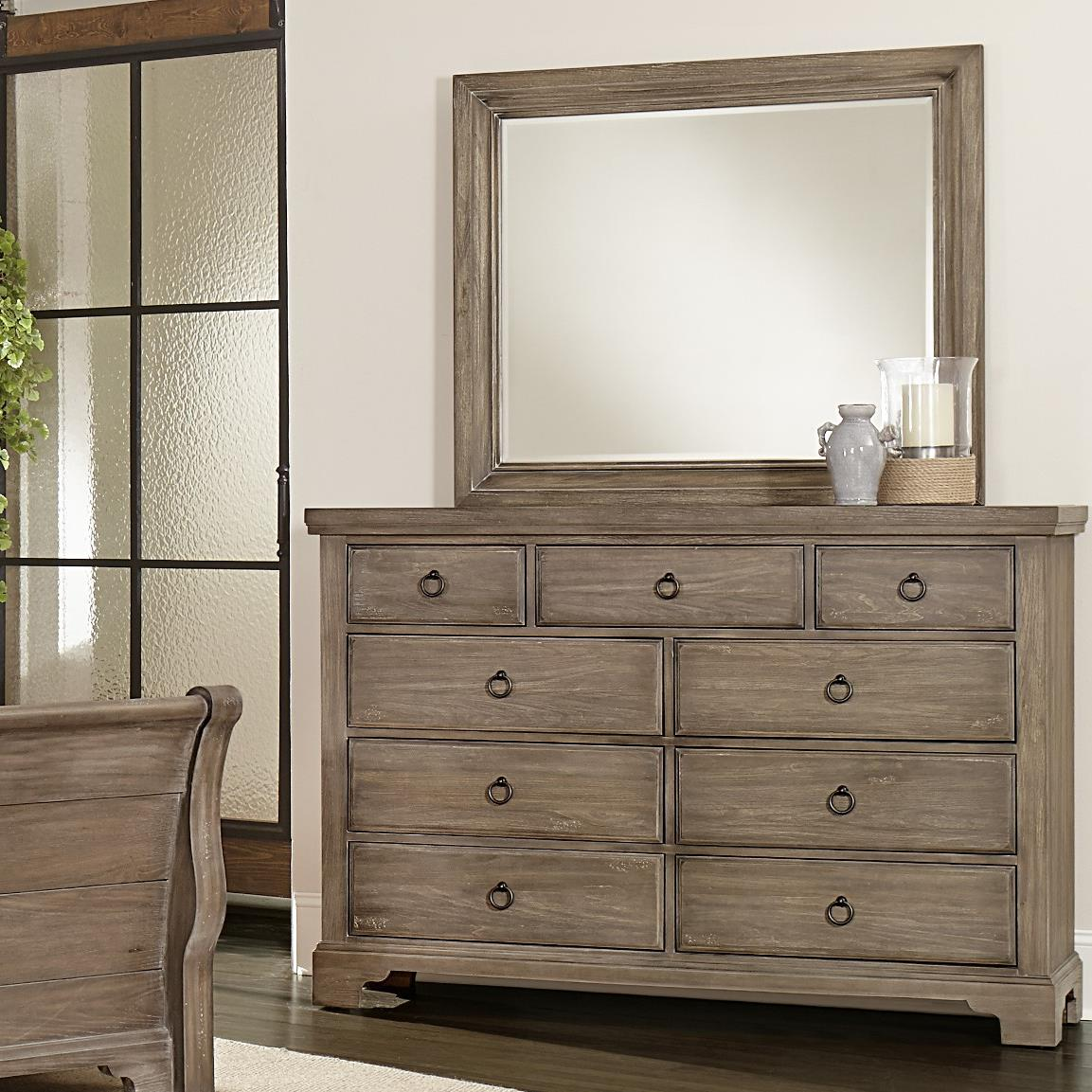 Vaughan Bassett Whiskey Barrel Chesser - 9 Drawers & Landscape Mirror - Item Number: 814-003+446
