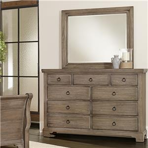 Vaughan Bassett Whiskey Barrel Chesser - 9 Drawers & Landscape Mirror