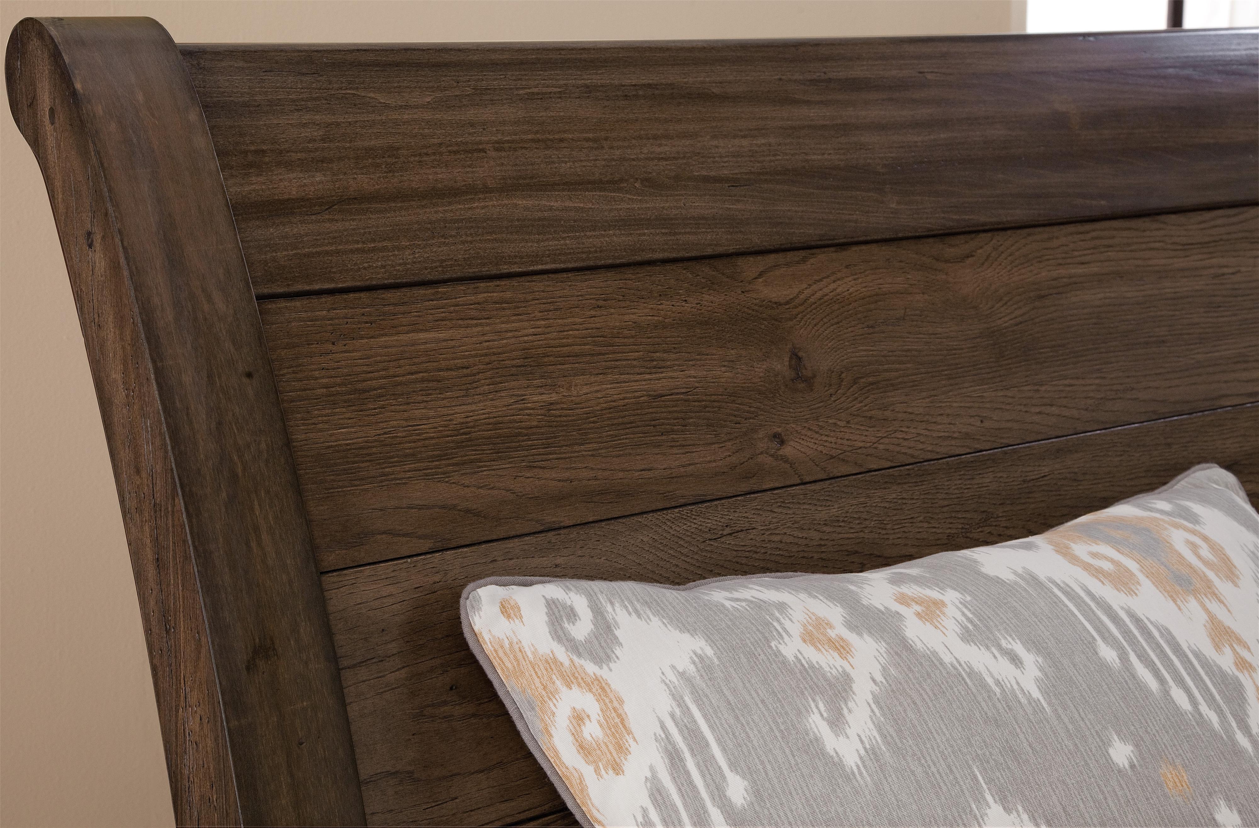 Vaughan Bassett Whiskey Barrel Distressed Queen Sleigh Bed