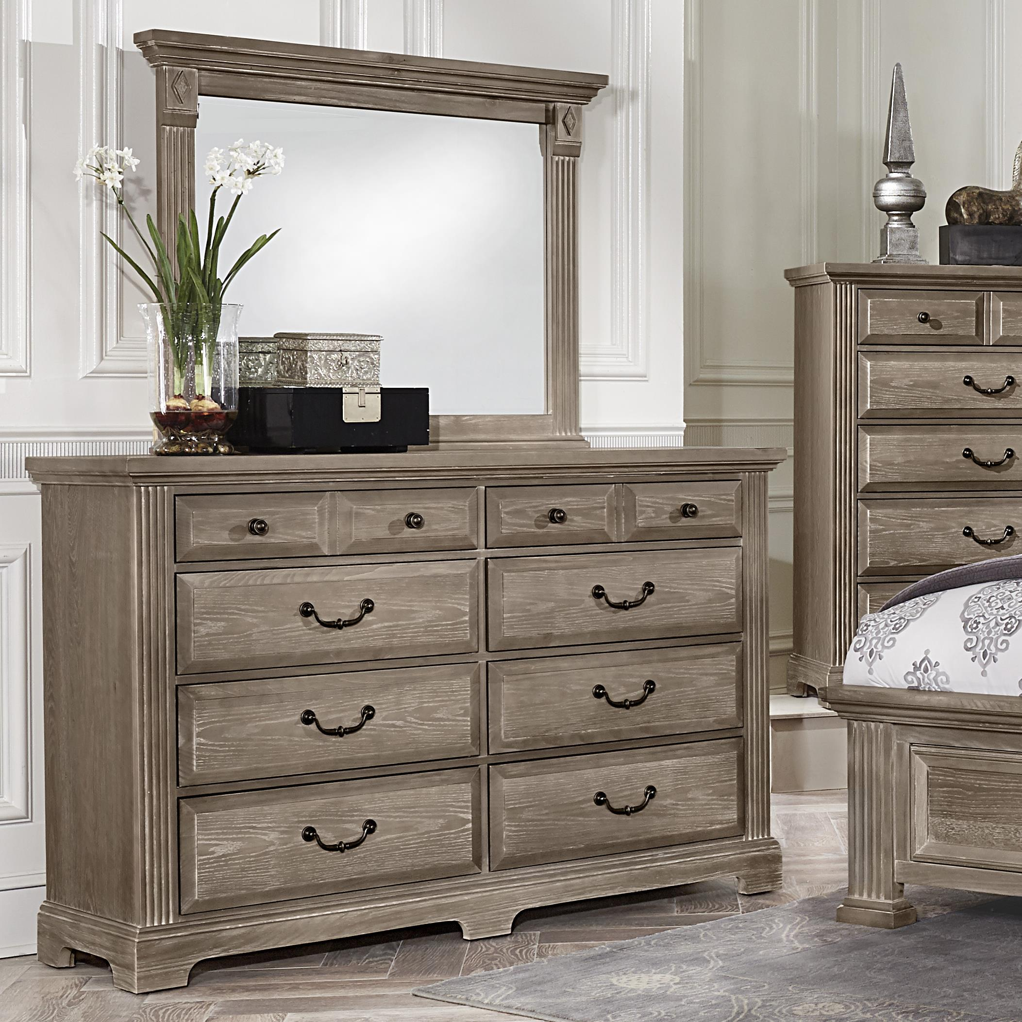 Vaughan Bassett Woodlands Triple Dresser & Landscape Mirror - Item Number: BB96-002+446