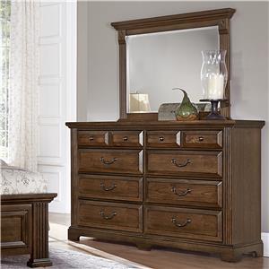 Vaughan Bassett Woodlands Triple Dresser & Landscape Mirror