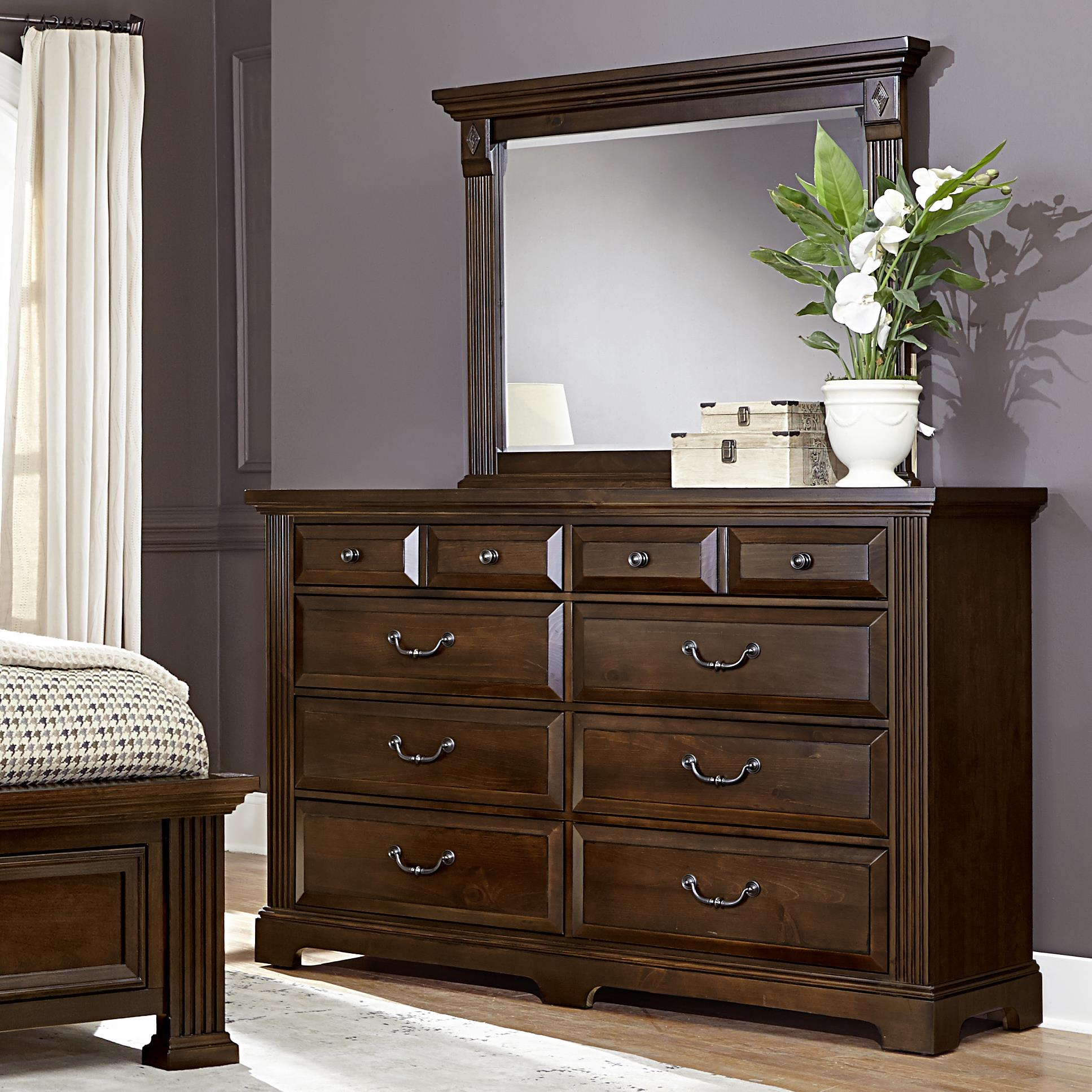 Vaughan Bassett Woodlands Triple Dresser & Landscape Mirror - Item Number: BB98-002+446