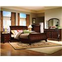 Vaughan Furniture Georgetown King-Size Traditional Sleigh Bed - 625-34H+34F+33R - Shown with Nightstand, Chest, Dresser, and Mirror - Bed Shown May Not Represent Size Indicated