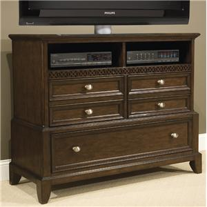 Vaughan Furniture Jackson Square Media Chest with 3 Drawers and 2 Shelves in Dark Warm Cherry Finish