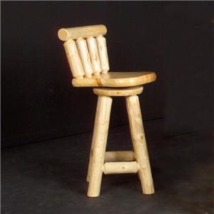 """NorthShore by Becker Log Furniture 24"""" Swivel Log Counter Bar Stool with Back"""