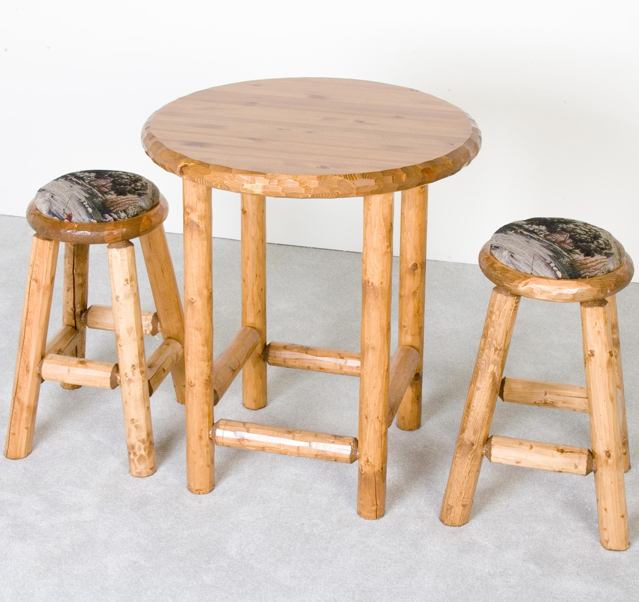 Log Furniture Rustic Pub Table and Upholstered Stools Set Becker