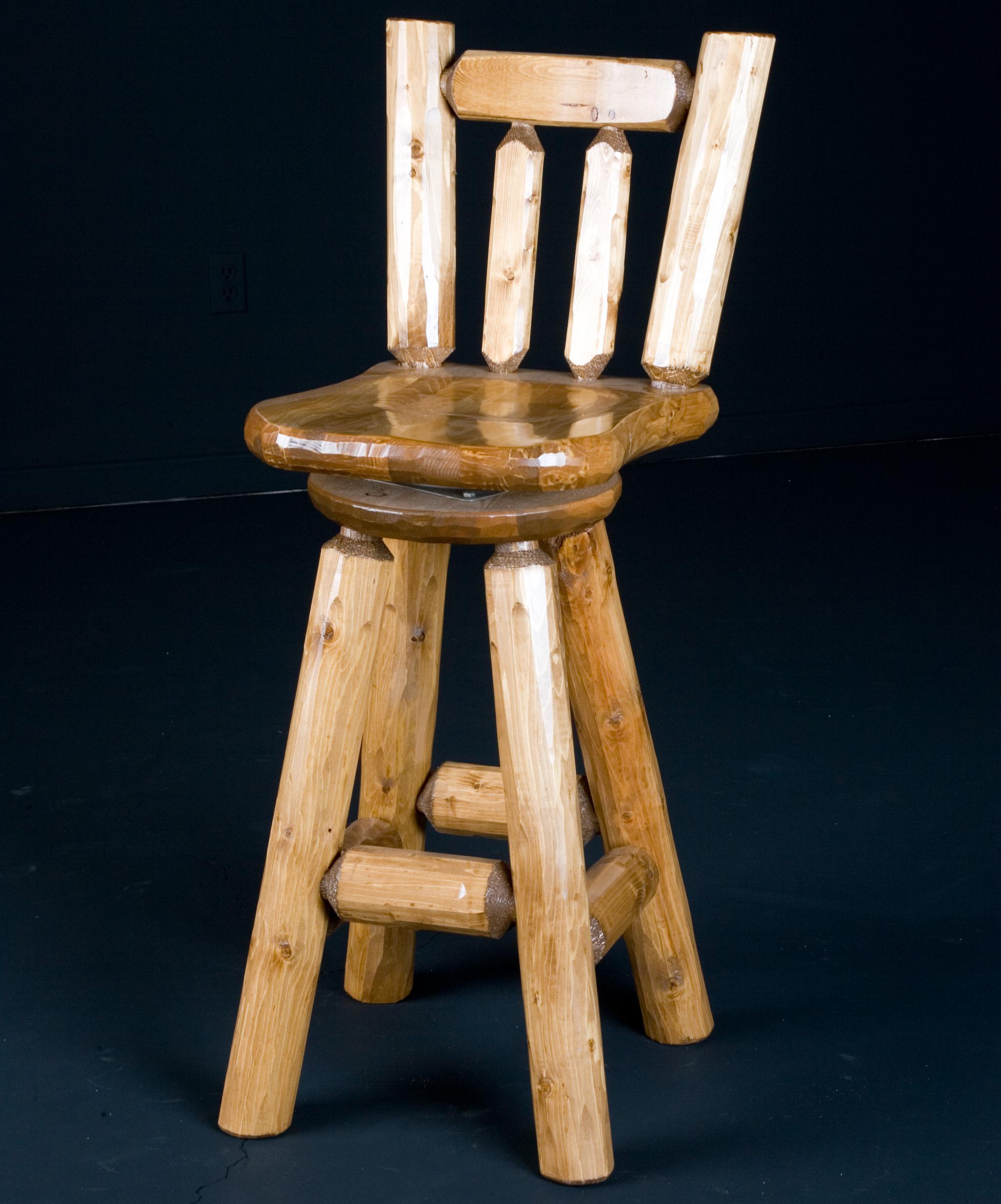 NorthShore by Becker Log Furniture 30' Swivel Barstool Wood Seat - Item Number: NWSPBS1