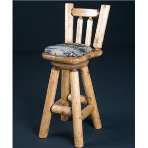 NorthShore by Becker Log Furniture 30' Swivel Barstool Cushioned Seat