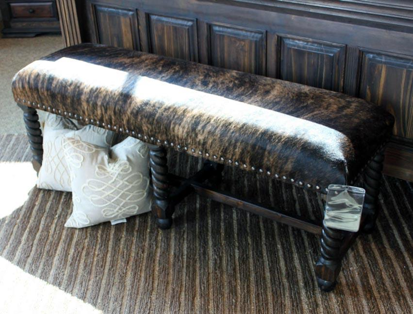 Vintage Accents Brown Cowhide Bench - Item Number: 12-BAN56-BC-DS