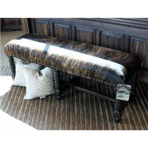 Vintage Accents Brown Cowhide Bench