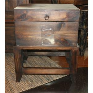 Vintage Accents Dark Stain Storage Side Table