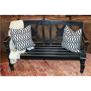 Vintage Accents Solid Wood Antique Black Bench