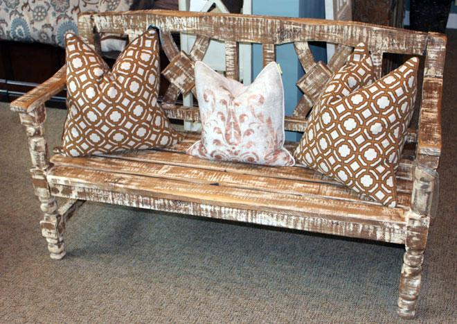 Vintage Accents Solid Wood Still White Bench - Item Number: BAN14-BENCH-PT-SW