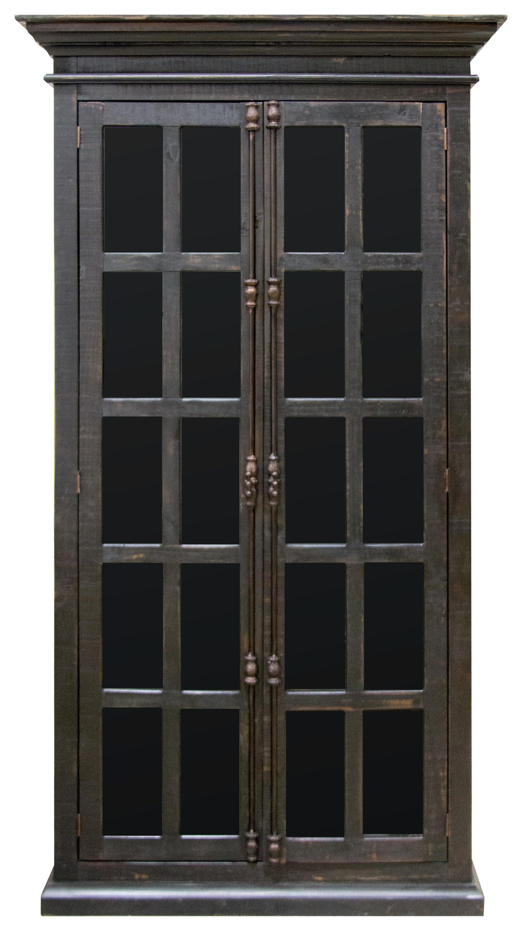 Vintage Accents Madden Black Vitrine Cabinet - Item Number: F-JON877-GTS-NB