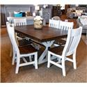 Vintage Canyon Creek 7pc Dining Group - Item Number: Pedestal Table 6 Curved Back Chairs