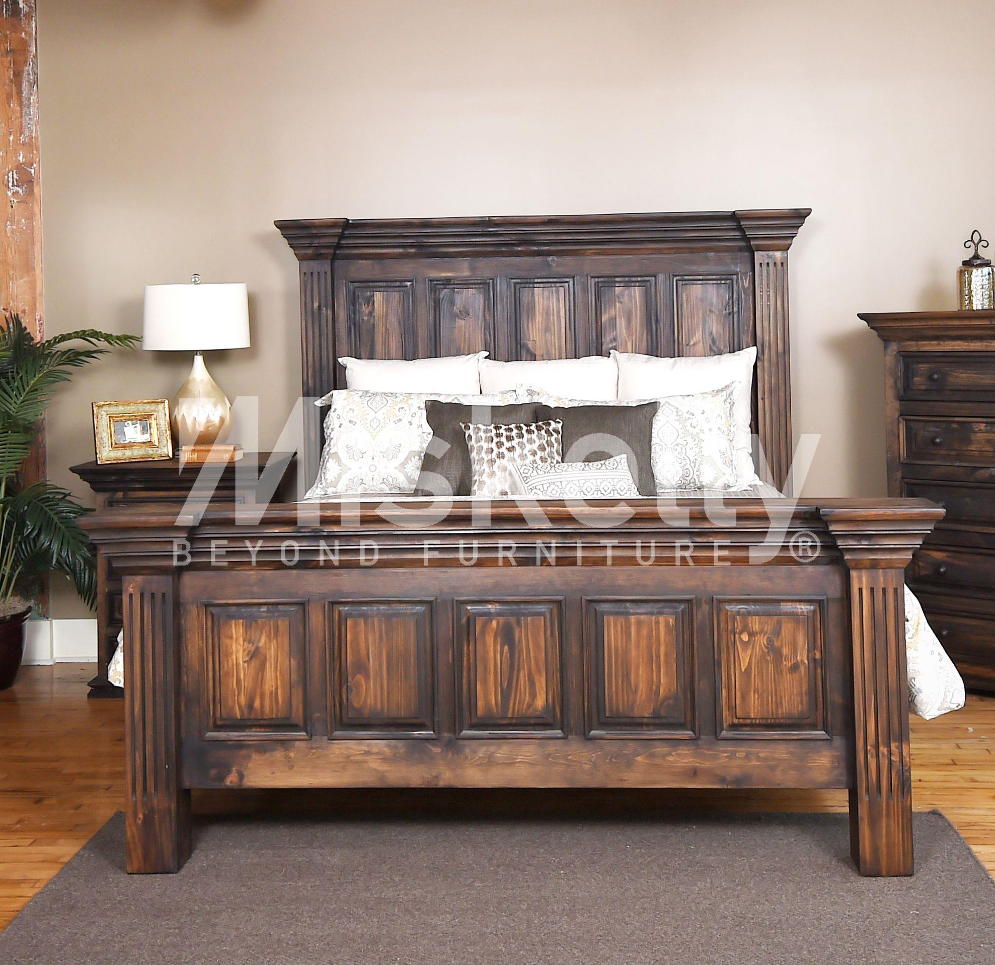 Vintage CLAUDIA- Dark Stain Queen Panel Bed | Miskelly Furniture ...