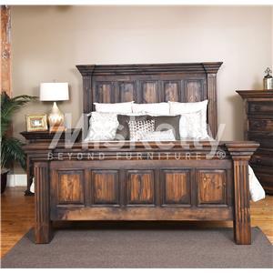 Vintage CLAUDIA- Dark Stain Queen Panel Bed
