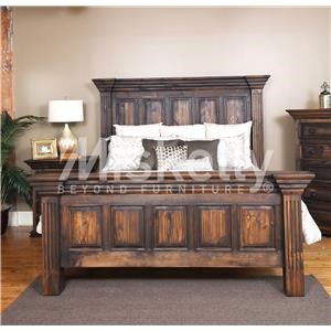 Vintage CLAUDIA- Dark Stain King Panel Bed