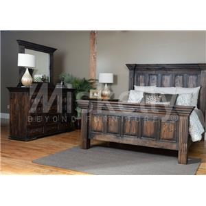Vintage CLAUDIA- Dark Stain Queen Bed, Dresser, Mirror and Nighstand