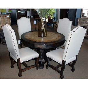 Vintage Dining Sets Round 47 Inch Travertine Top Dining Table &