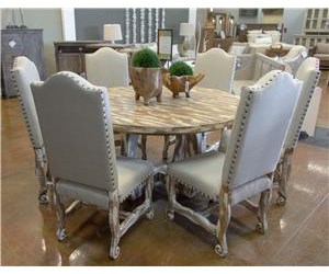 Vintage Dining Sets Nickel White Table & 6 Dining Chairs