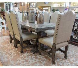 Vintage Dining Sets Herringbone Table & 6 Barnwood Linen Chairs