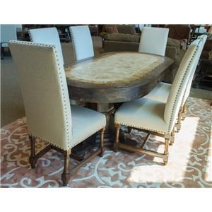 Vintage Dining Sets Travertine Oval Top Double Pedestal Dining T