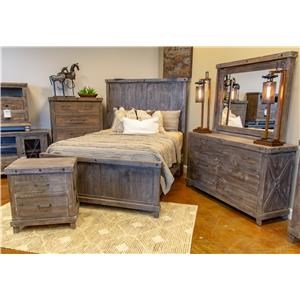 Vintage Industrial King Bed, Dresser, Mirror, and Nightstand