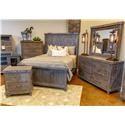 Vintage Industrial Bedroom King Bed, Dresser, Mirror, and Nightstand - Item Number: GRP-JONIND-KINGSUITE