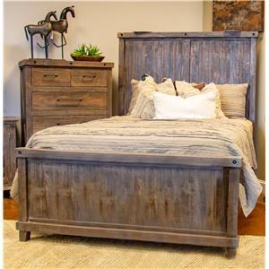 Vintage Industrial Queen Panel Bed