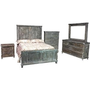 Vintage Industrial Queen Bed, Dresser, Mirror, and Nightstand