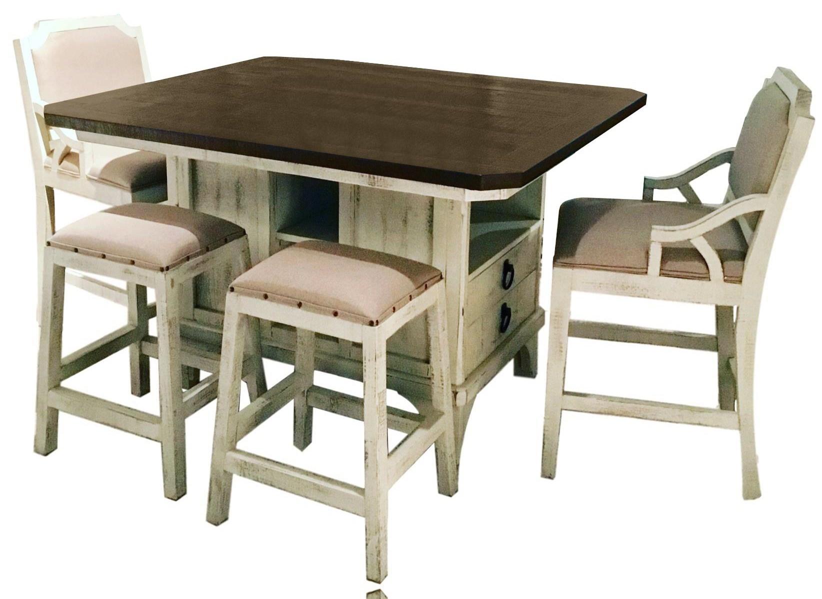 Island Table, 4 Backless Barstools, & 2 Bars