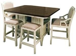 Vintage Biscayne Island Table, 4 Backless Barstools, & 2 Bars