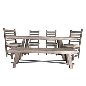 Industrial Dining Table with 4 Chairs and Be