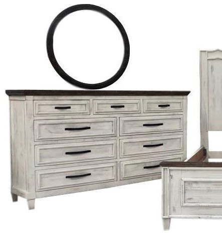 Two-Toned Dresser & Round Mirror