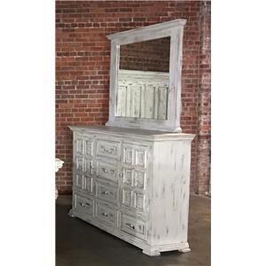 Vintage Chalet Nero White Dresser & Mirror