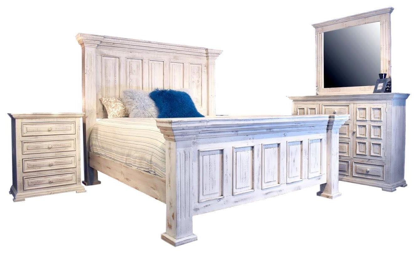 Queen Nero White Bed, Dresser, Mirror & Nigh