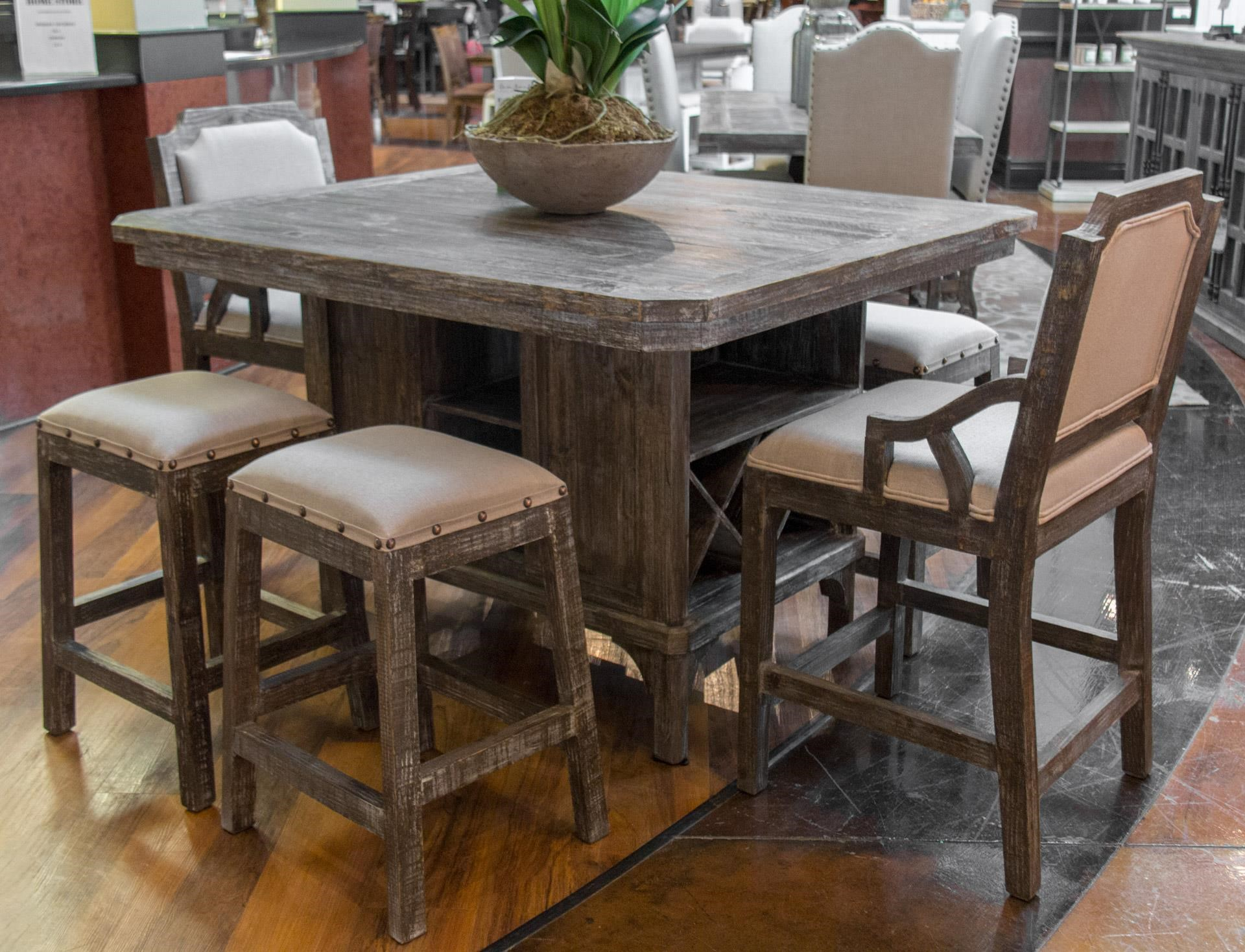 Kitchen Island Pub Table, 4 Backless Barstoo